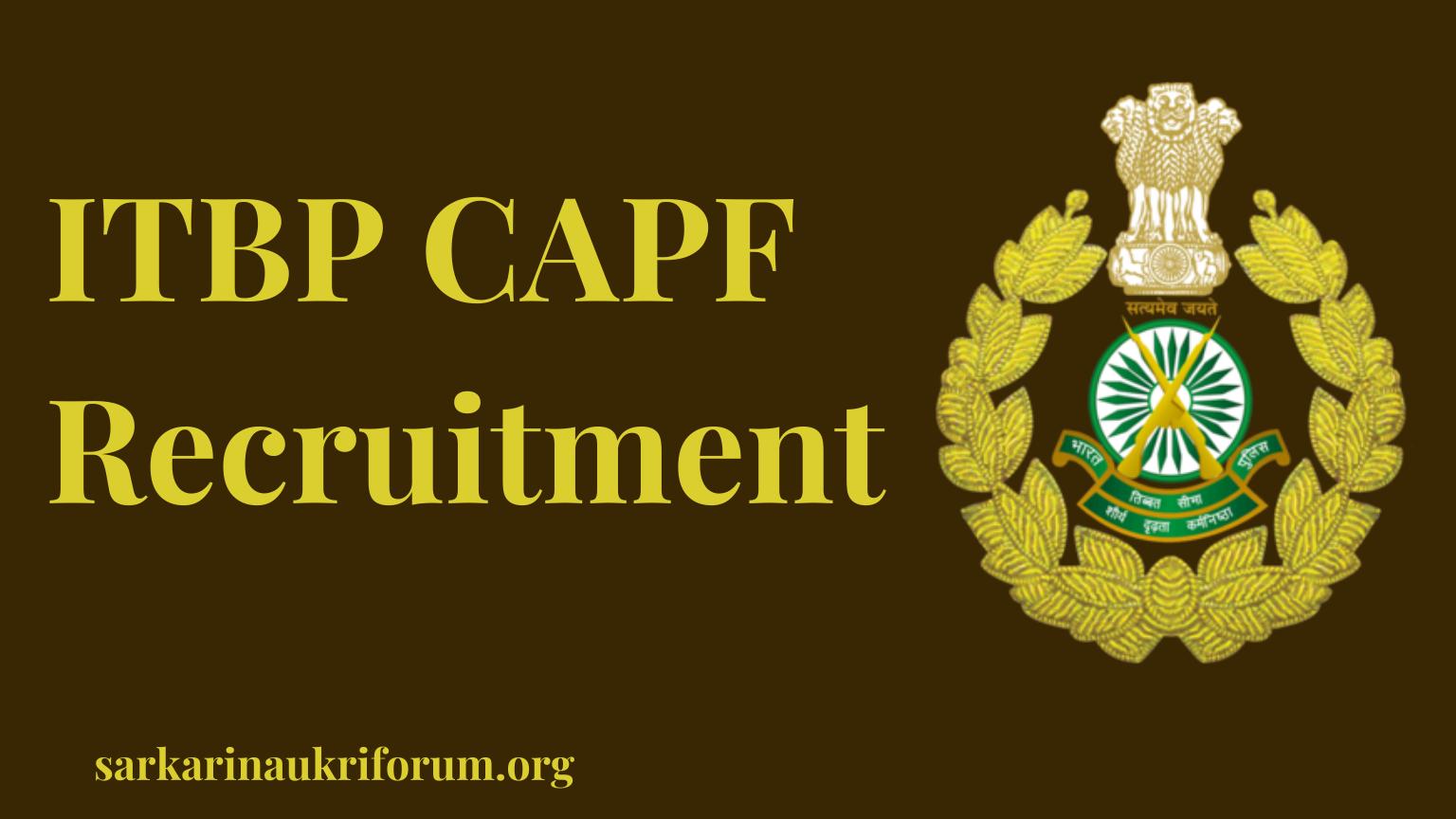 ITBP CAPF Recruitment